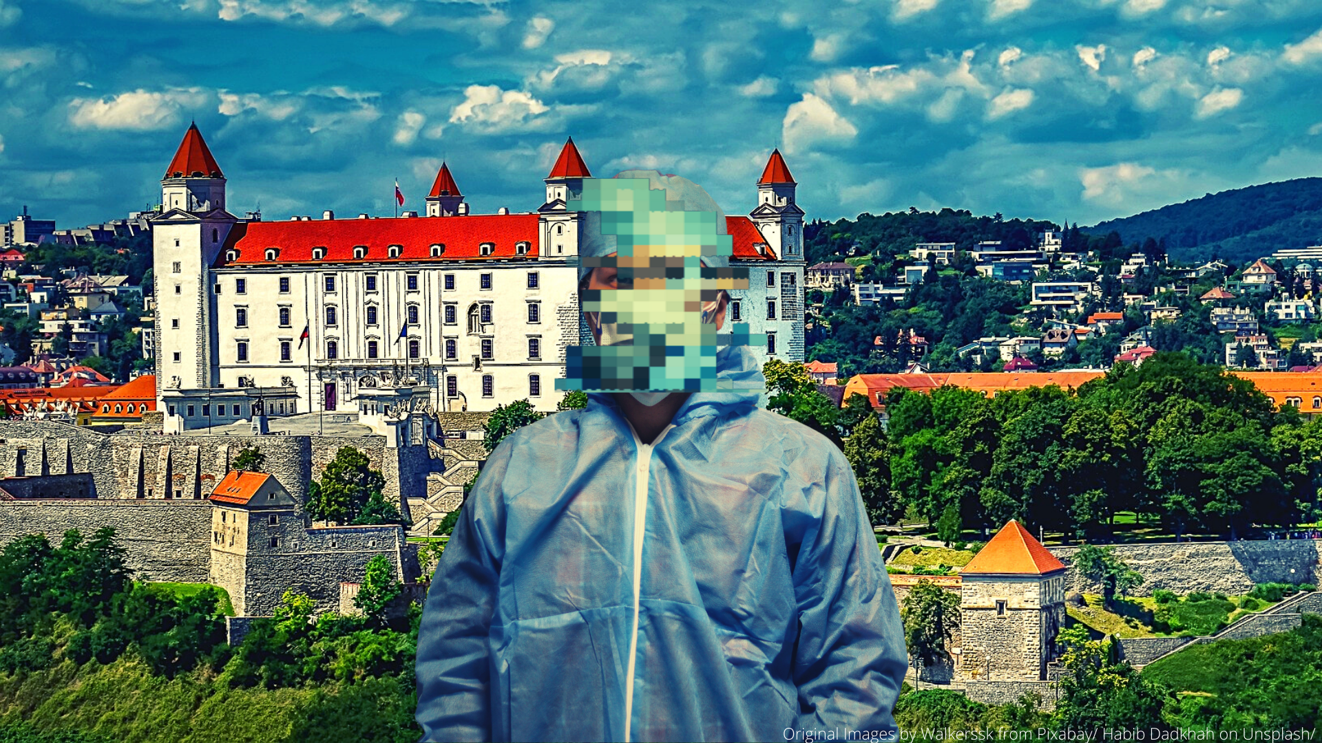 Original Images for feature by Walkerssk from Pixabay Habib Dadkhah on Unsplash portraying Bratislava and a healthcare worker
